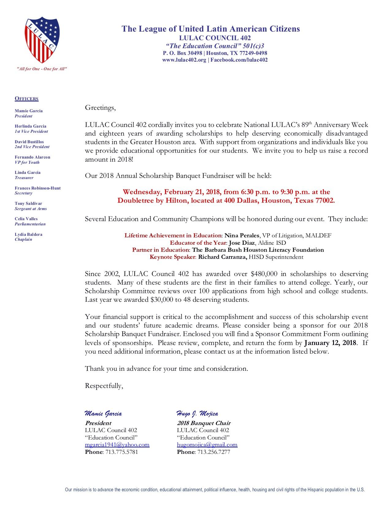 2018 LULAC Council 402 Banquet
